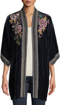 Johnny Was Plus Size Quito Floral-Embroidered Velvet Kimono w/ Border Stitching