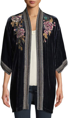 Johnny Was Plus Size Quito Floral-Embroidered Velvet Kimono w/ Border Stitching