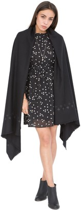 likemary Pashmina Shawl Blanket Scarf Women - Merino Wool - Ladies Travel Wrap & Meditation Blanket - Ethical Gifts Black Crosses