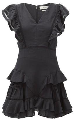 Etoile Isabel Marant Audrey Ruffled Linen Mini Dress - Womens - Black