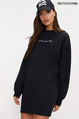 PrettyLittleThing Womens Embroidered Jumper Dress - Black