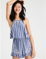 American Eagle AE Knit Embroidered Halter Romper