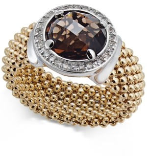 Macy's Smoky Quartz (2-1/8 ct. t.w.) and Diamond (1/5 ct. t.w.) Popcorn Band Ring in 14k Gold-Plated Sterling Silver