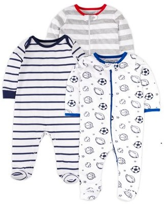 Little Star Organic Newborn Baby Boys Sports Sleep 'N Play Footed Pajamas, 3-Pack (NB-9M)