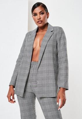 Missguided Co Ord Check Tailored Boyfriend Blazer