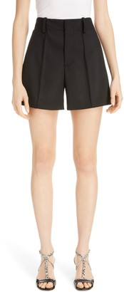 Chloé Pintucked Stretch Wool Shorts