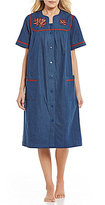 Go Softly Leaves-Embroidered Denim Patio Dress