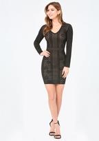 Bebe Rose Jacquard Knit Dress