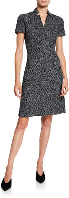 St. John Short-Sleeve Textured Boucle Tweed Dress with Inverted Collar