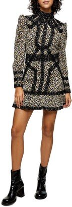 Topshop Crochet Trim Floral Long Sleeve Minidress