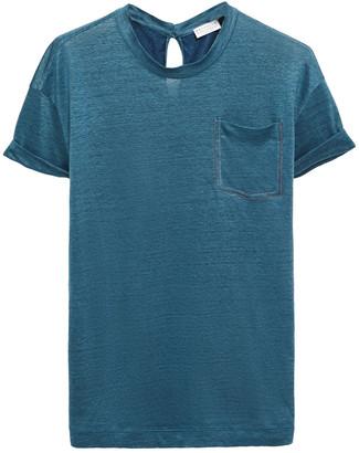 Brunello Cucinelli Bead-embellished Linen And Silk-blend T-shirt