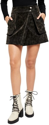 Free People Carson Utility Faux Leather Wrap Skirt