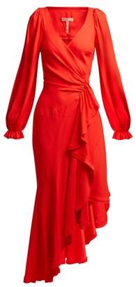 Maria Lucia Hohan Eliana Asymmetric Crepe Wrap Dress - Red