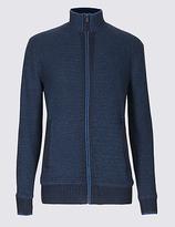 Blue Harbour Cotton Rich Zipped Through Cardigan