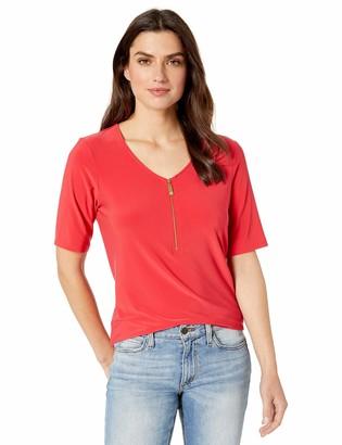 Chaus Women's S/S V-Neck Zipper Top