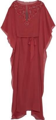 Roberto Cavalli Embellished Silk Crepe De Chine Gown