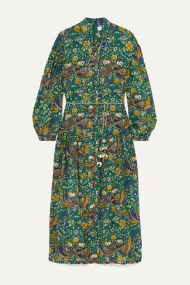 Zimmermann Edie Belted Printed Cotton-voile Midi Dress - Green