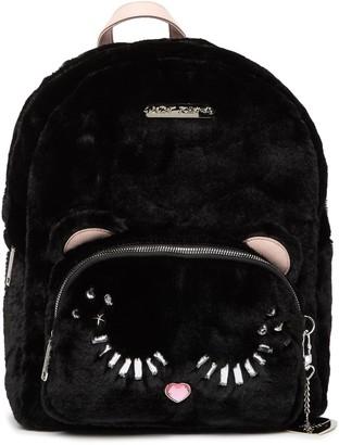 Betsey Johnson Fuzzy Faux Fur School Backpack