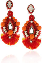 Ranjana Khan Red Drop Beaded Clip-On Earrings