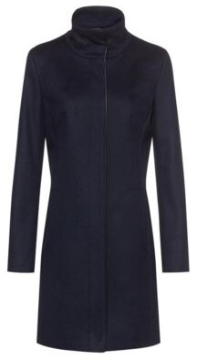 HUGO BOSS Slim-fit coat with faux-leather piping