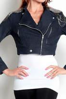 Feline Beaded-Shoulders Cropped Denim-Jacket