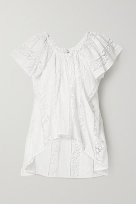 Miguelina Marisol Crochet-trimmed Embroidered Cotton-voile Top - White