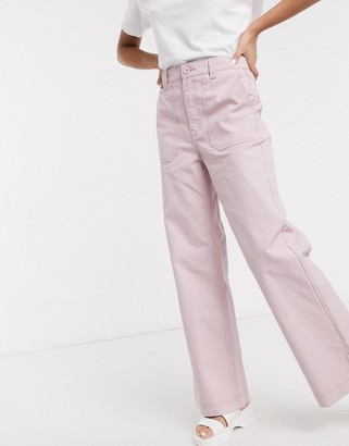Dr. Denim Tuva high rise worker jean with front pocket detail in light pink