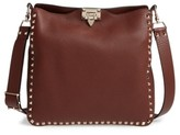 Valentino Vitello Rockstud Leather Hobo - Brown