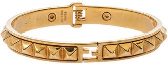 Fendi Gold Tone Pyramid Studded Cuff Bracelet L