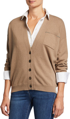 Brunello Cucinelli Cashmere Cardigan w/ Monili Pocket