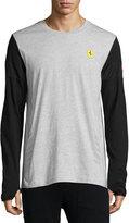 Puma Logo Long-Sleeve Top, Light Heather Gray