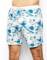 Asos Swim Short With Floral Print In Mid Length