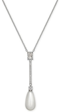 "Eliot Danori Crystal & Imitation Pearl Lariat Necklace, 16"" + 1"" extender, Created for Macy's"
