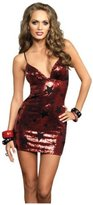 Leg Avenue Women's Star Sequin Mini Dress, Red/Black