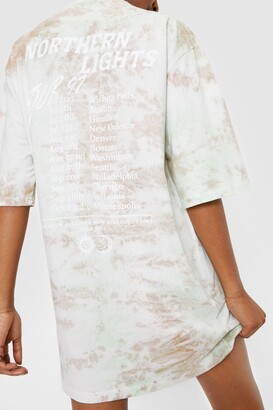 Nasty Gal Womens Northern Lights Tie Dye Graphic Band Tee Dress - Mint