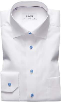 Eton White Twill Shirt With Blue Details - Classic Fit