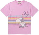 Gucci Oversized Printed Mélange Linen T-Shirt