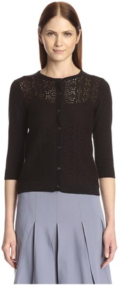 Society New York Women's Crew Neck Lace Front Cardigan