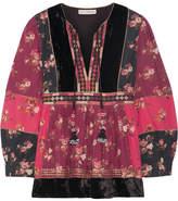 Ulla Johnson Bijana Velvet-trimmed Embroidered Printed Cotton-blend Blouse