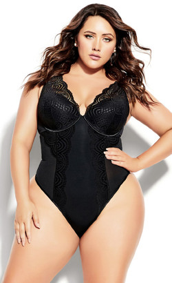 City Chic Brooke Underwire Bodysuit - black