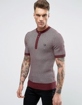 Fred Perry Laurel Wreath Jumper Short Sleeve Two Colour Texture Knit Grandad In Maroon/navy