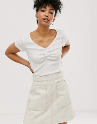Monki short sleeve cropped v-neck t-shirt in white