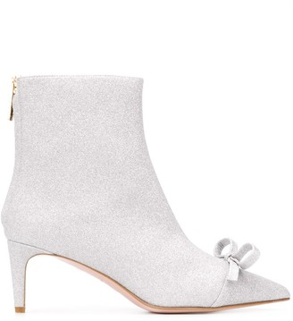 RED Valentino bow detail glitter ankle boots
