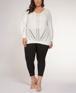 Black Tape Plus Size Pointelle-Pattern Sweater