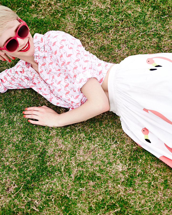 Alice + Olivia lice + Olivi Willa Flamingo-Print Blouse
