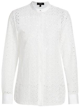 Theory Daisy Mandarin Collar Sheer Shirt