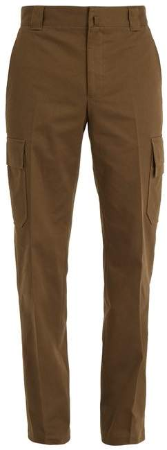 Lanvin Straight Leg Cotton Drill Cargo Trousers - Mens - Khaki
