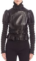 Alexander McQueen Lambskin Leather Ruched Sleeve Jacket