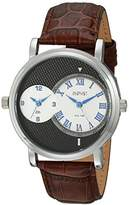 August Steiner Men's AS8146SSBR Silver Dual Time Zone Swiss Quartz Watch with Black Dial and Cognac Leather Strap