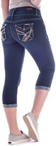 Dark Blue Embroidery Pocket Capri Jeans